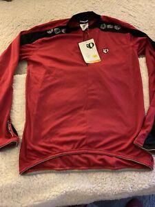 PEARL-iZUMI-Mens-Large-Long-Sleeve-Cycling-Jersey-1-4-Zip-Pockets-NOT-Sewn