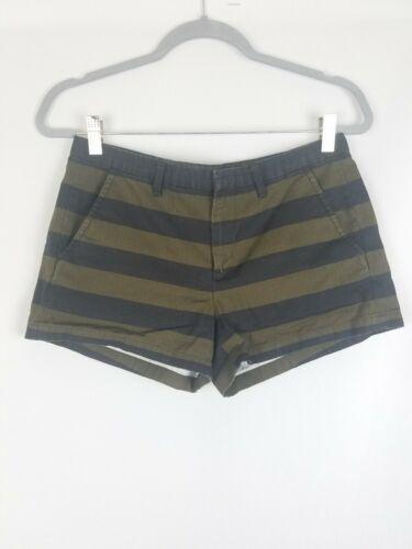 Madewell women 4 tailored shorts black green strip