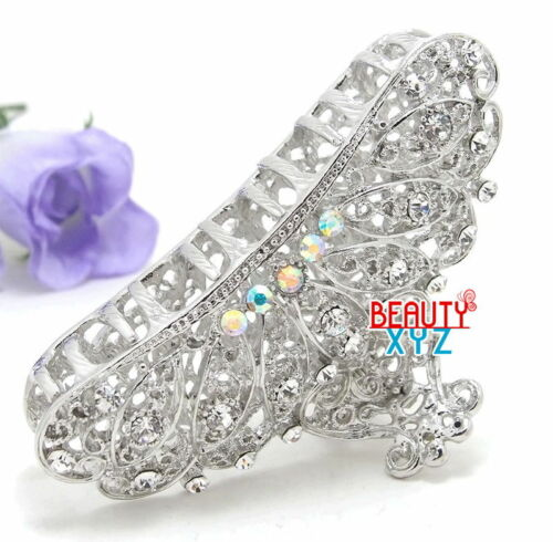 New Fancy White Rhinestone Crystal High quality Metal paisley hair claw clip pin