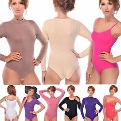 Damen Langarm-Body Kurzarmbody Halbkragen Kurzarm Spagettiträger Sexy Bodysuit