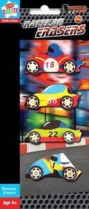 Enfants-Garcons-4-X-Course-Voiture-Caoutchoucs-Mobile-Gomme-Ideal-Fete-Birthday