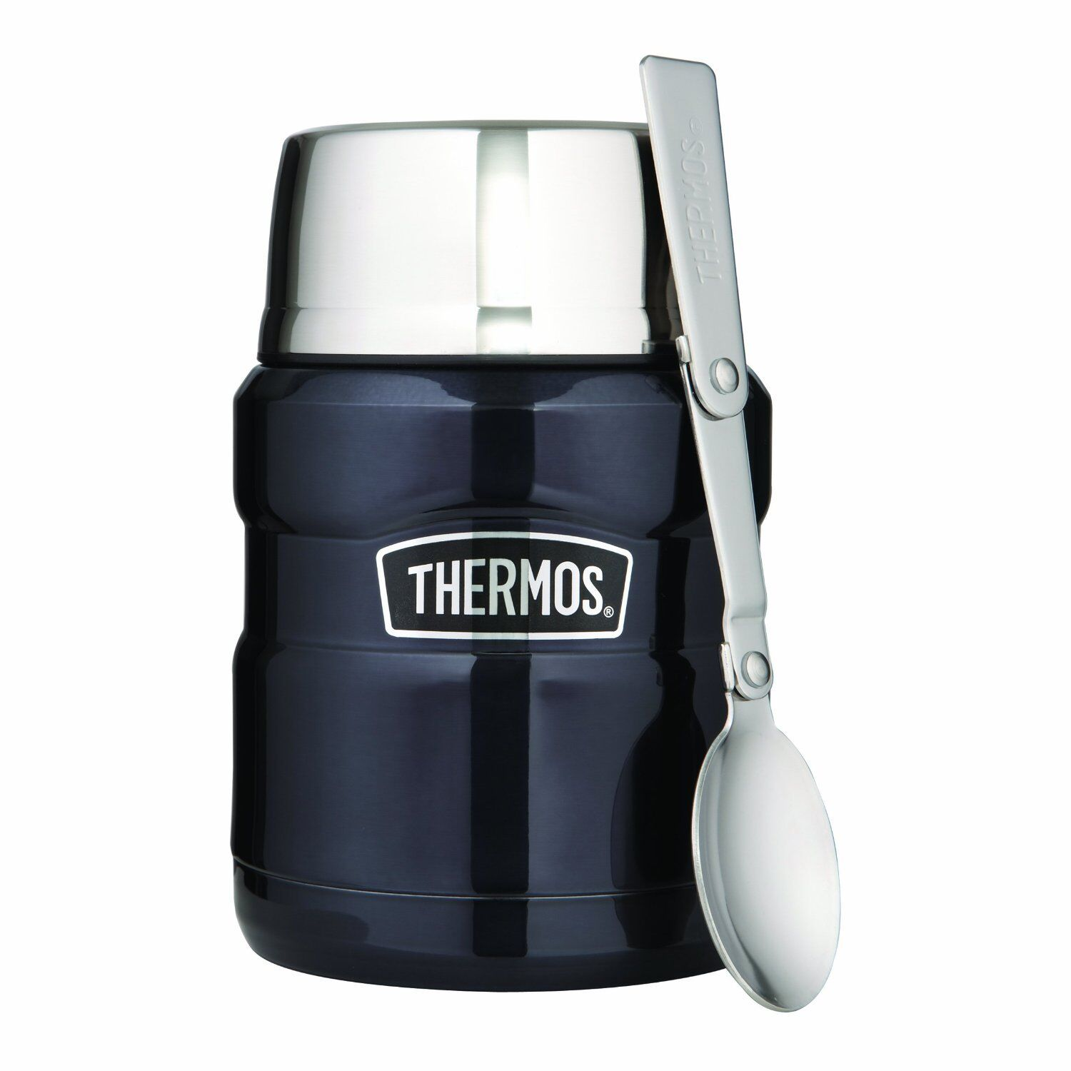 NEW THERMOS STAINLESS STEEL DOUBLE WALL KING FOOD VACUUM FLASK 0.47L WITH SPOON
