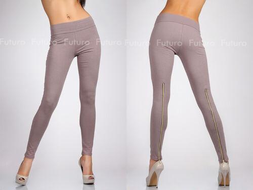 Unique /& Trendy Full Length Leggings with Zipper High Waist Jeggings 1054