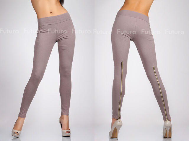 Unique & Trendy Full Length Leggings with Zipper High Waist Jeggings 1054