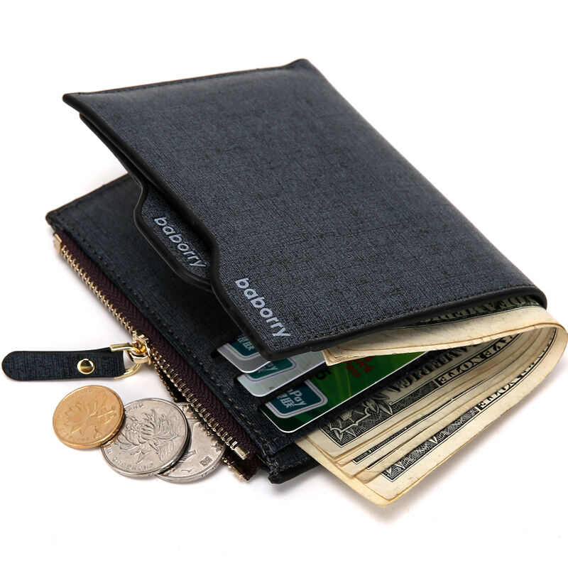 Man-made Leather Wallet Credit Card holder Bifold Coin Purse Pocket Money Clip