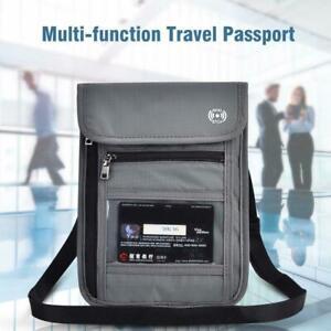 Travel-Passport-Neck-Pouch-RFID-Blocking-Wallet-Bag-Holder-Card-Phone-Organizer