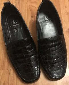 Ladies-Size-3-Choc-Effect-100-Patent-Leather-Slip-On-Loafers-Tlc-Wide-Fit