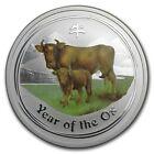 (5) Perth Mint Australia 2009 $ 0.5 Coloured Ox Half 1/2 oz .999 Silver Coin
