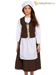 Girls Poor Victorian Costume Childs Maid Peasant Costume Kids Book Week Outfit
