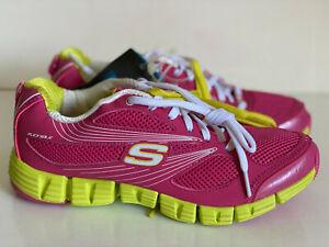 NEW-SKECHERS-SPORT-FLEX-SOLE-PINK-YELLOW-RUNNING-TRAINING-SHOES-7-37-SALE