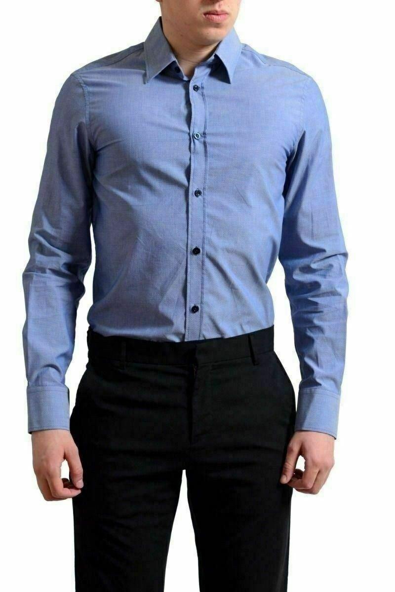 Versace Jeans Men's bluee Long Sleeve Button Down Shirt US S IT 48