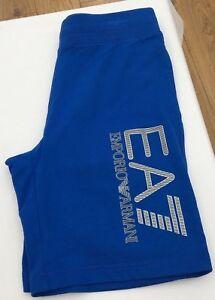 EMPORIO-ARMANI-EA7-Royal-Blue-Silver-Logo-100-Cotton-Shorts-Size-Large-BNWT
