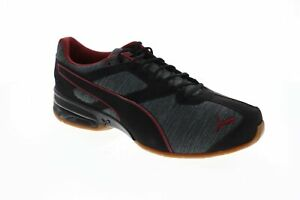 Puma Tazon 6 Heather Rip Mens Black Textile Athletic Lace Up Running Shoes