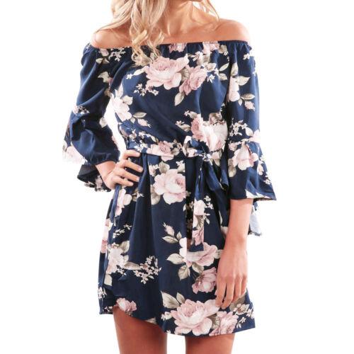 Women Retro Floral Print Off Shoulder Short Dress Ladies Evening Party Dresses