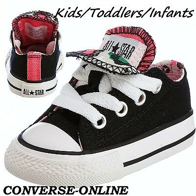Girl Kids CONVERSE All Star BLACK PINK ANIMAL DOUBLE Trainers Shoes 23 SIZE UK 7