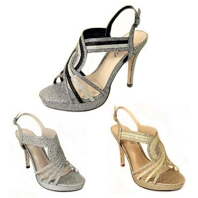 LADIES STRAPPY ANKLE GOLD CUFF STRAP OPEN TOE SANDALS BLOCK HIGH HEELS SIZES 3-8