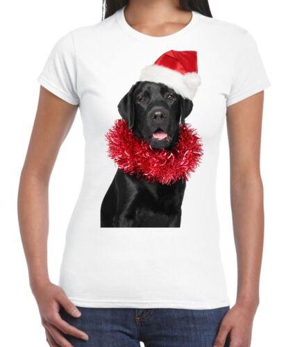 Christmas Black Labrador with Santa Hat Women/'s T-Shirt