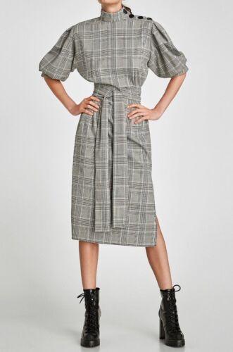 Zara vestido cuadros a cuadros cinturón checked printed belted MIDI dress Slits tunic