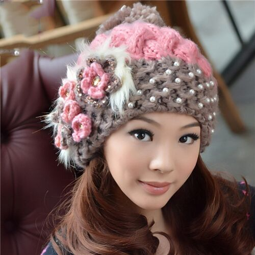 New Womens Winter Knit Crochet Flower Warm Hats Fashion Wool Blend Beanie Caps