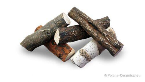 Ceramic logs 5 Pieces Mix designed for bio ethanol gas gel fireplaces.