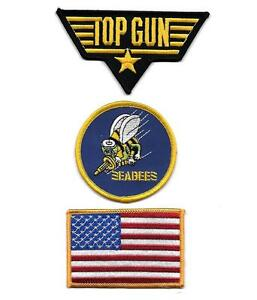 """SEABEES UNITED STATES NAVY IRON-ON PATCH 3/"""" WIDE"""