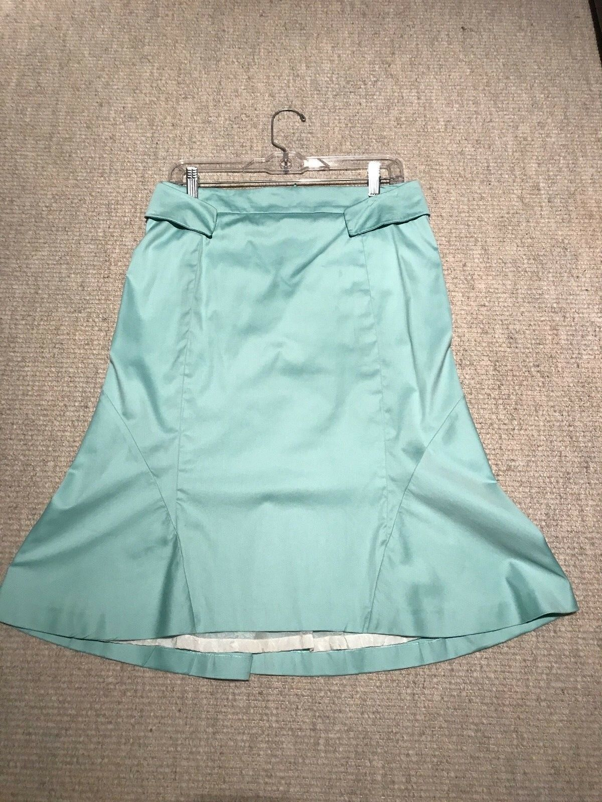 JIL SANDER WOMEN'S TURQUOISE GREEN A-LINE COTTON KNEE SKIRT SIZE IT 38 (US 4)