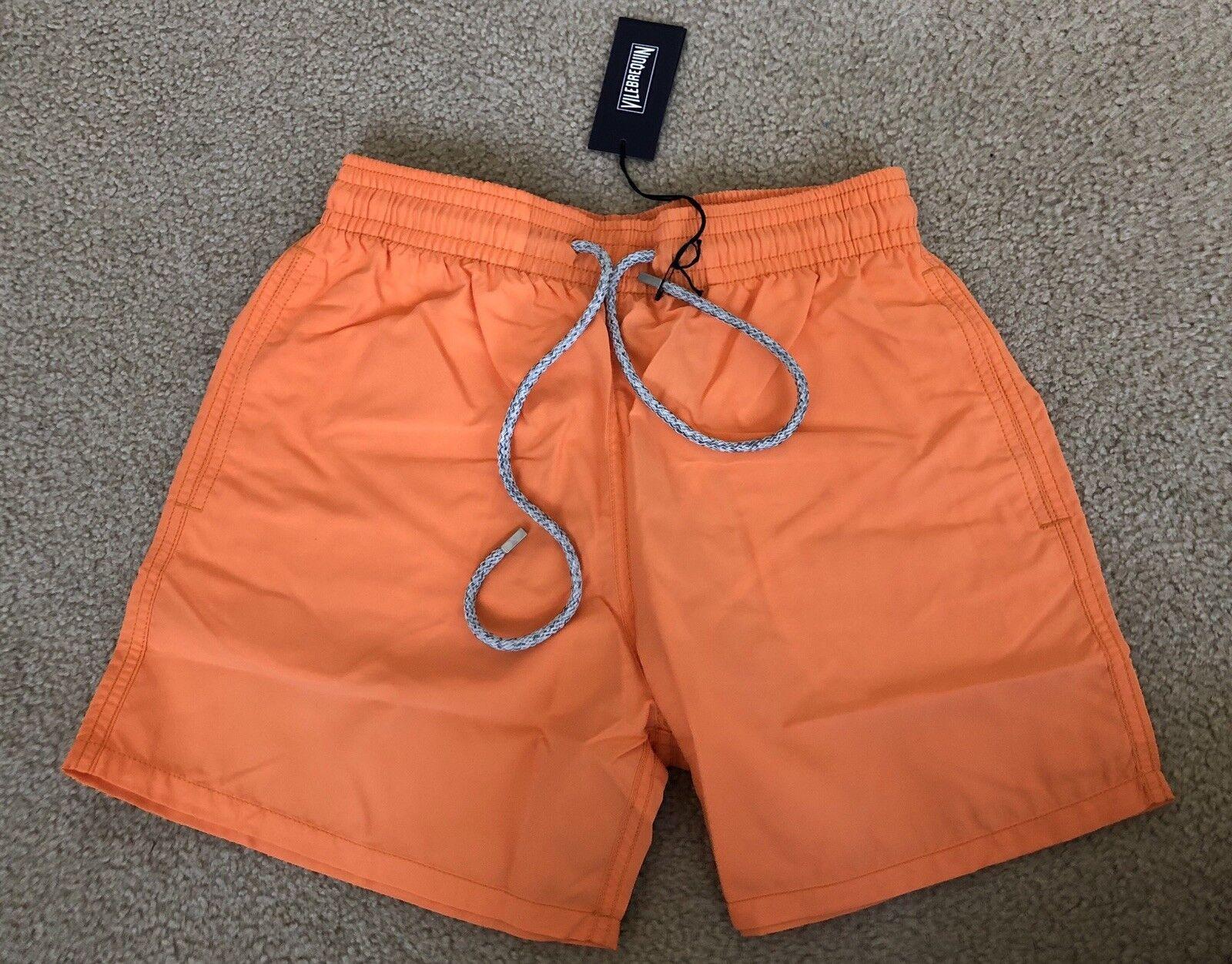 New w Tags Authentic Vilebrequin MOOREA Swim Trunks - Tangerine - Men SMALL - S