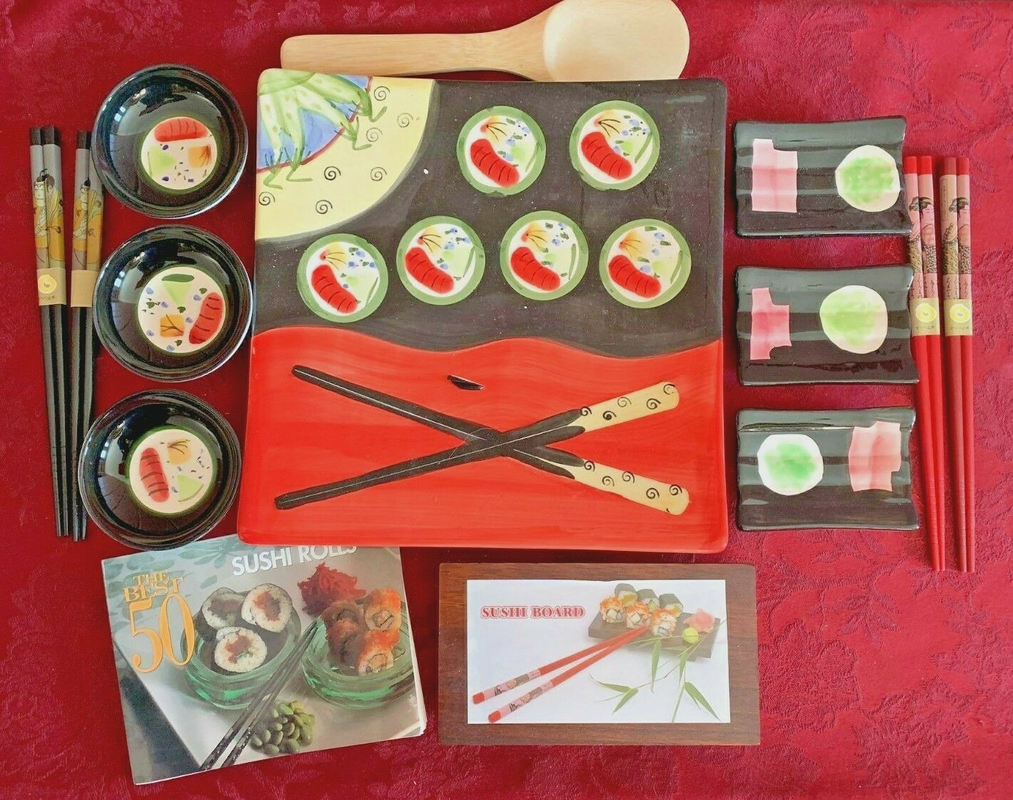 Sushi Set en céramique, plat, Sushi Board, Baguettes, petits bols et assiettes & Livre