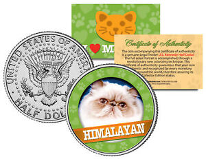 HIMALAYAN-Cat-JFK-Kennedy-Half-Dollar-US-Colorized-Coin