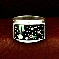 Calvin Begay Sterling Silver Night Sky Men's Ring Size 11 --- R84 E T