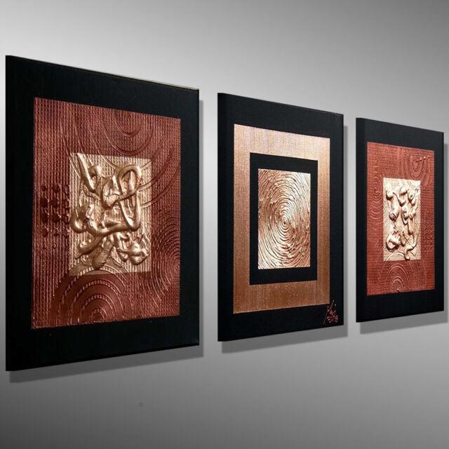 Leinwand KUNST Gemälde moderne Bilder Malerei -MICO- abstrakt kupfer BILD 90x90