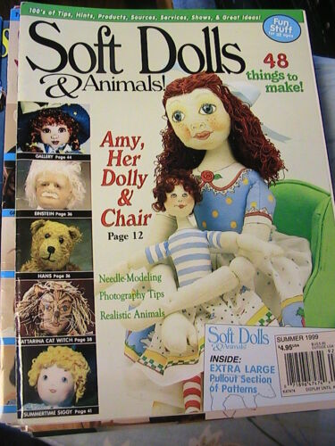 tips SOFT DOLLS /& ANIMALS~July 2001 cloth doll patterns~techniques magazine