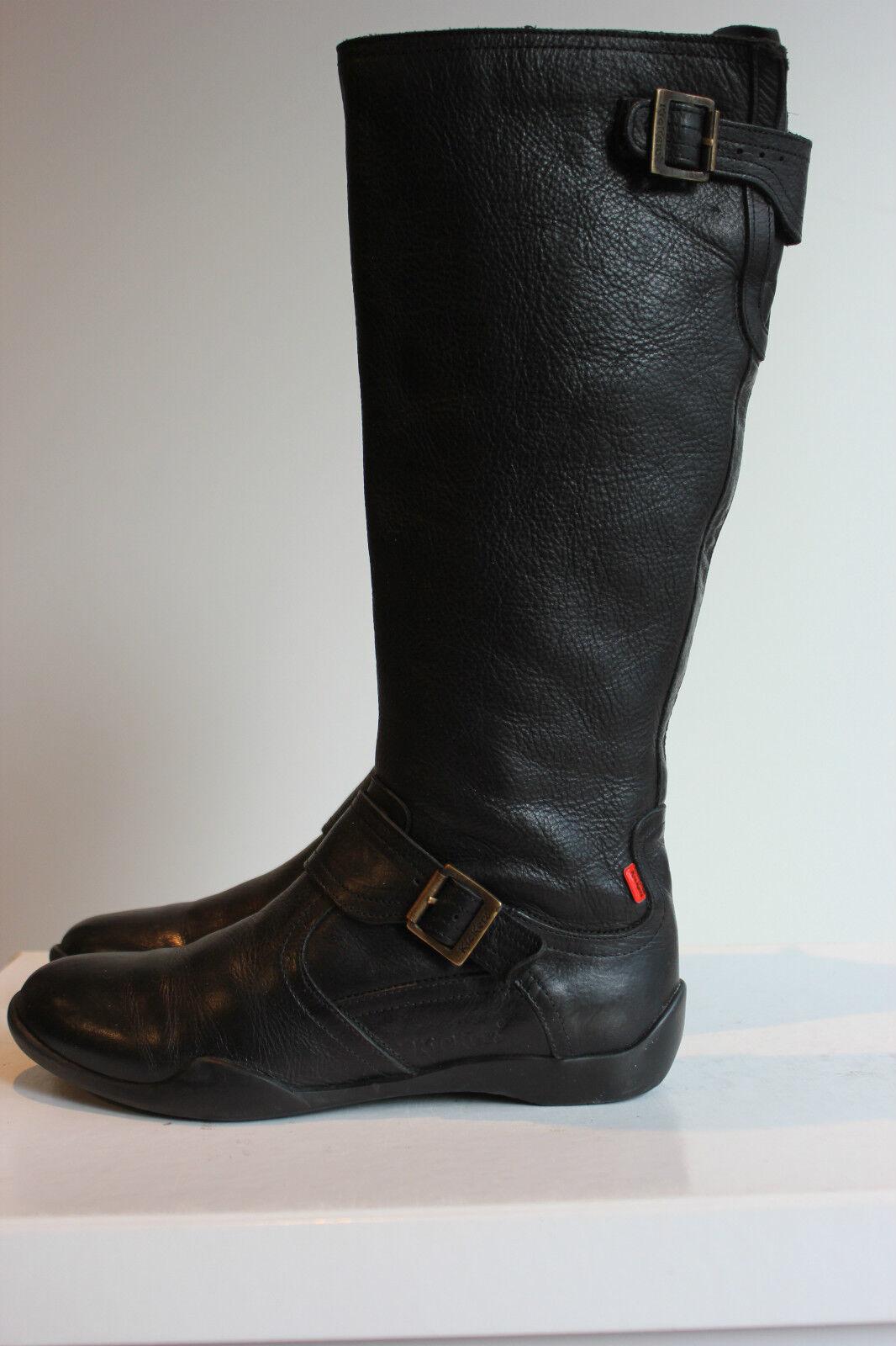 Kickers bellissima Nero Echt Leder stivali, Tg. 39, ottimo stato