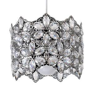 Moderne-Chrome-ajustement-facile-plafond-abat-jour-Suspendu-Floral-Acrylique-Transparent-Bijoux