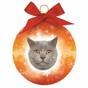 British-Shorthair-Blue-Cat-Christmas-Bauble-red-ribbon-shatterproof-in-Gift-Box
