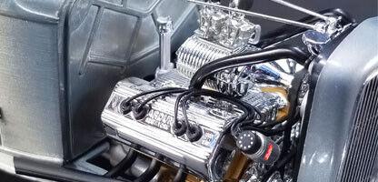 1 18 ENGINE & TRANSMISSION REPLICA CHROMED BLOWN ARDUN FLATHEAD by ACME