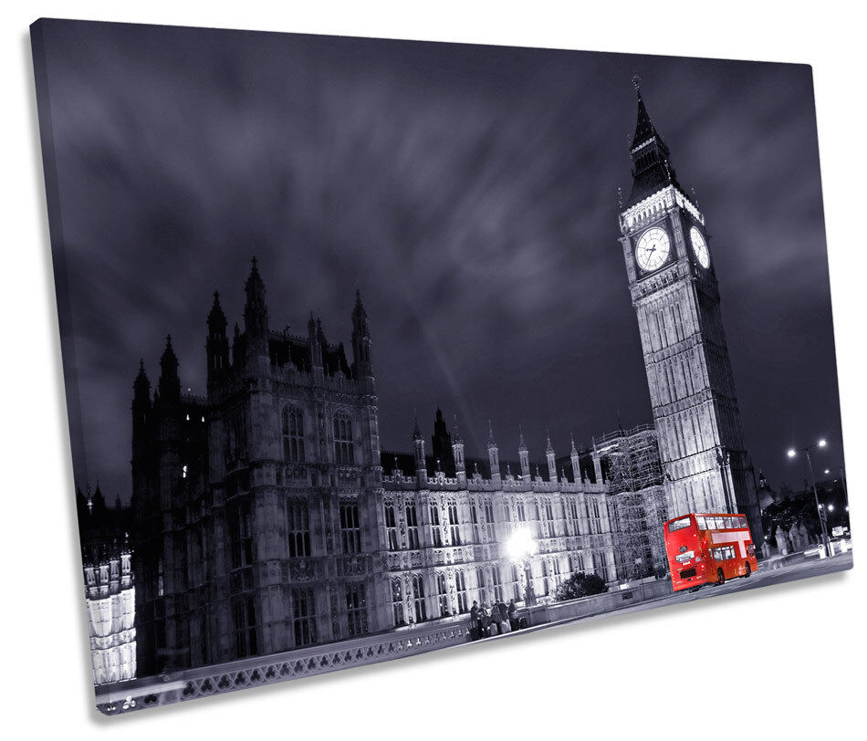 London Stadt Bus Big Ben SINGLE CANVAS Wand Kunst Bild Drucken