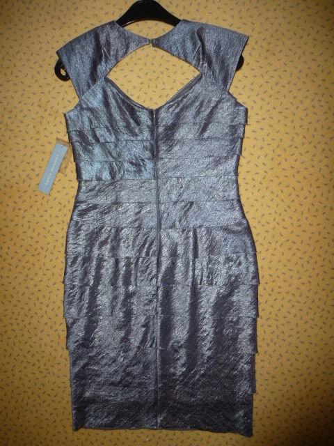 New York Hilton Kleid Abendkleid Abendkleid Abendkleid grau glitzer US-Gr.4 dt. Gr. 36 - 38 NEU Etik. b57367