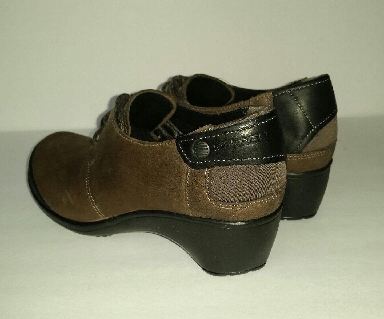 Merrell Veranda Tie Booties Cloudy Olive Braun Leder Booties Tie Damenschuhe 6 Heels Oxford New d8e7ca