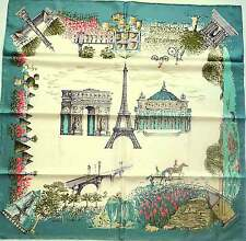 LONGCHAMP Schal Tuch Seide petrol blau türkis grün creme Paris Eiffelturm NEU!