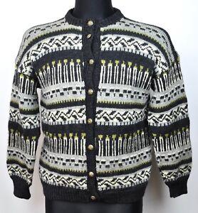 fe302c7dad3 Details about Wool Ladies S M Norwegian Cardigan Icelandic Sweater Nordic  Jumper Women Medium