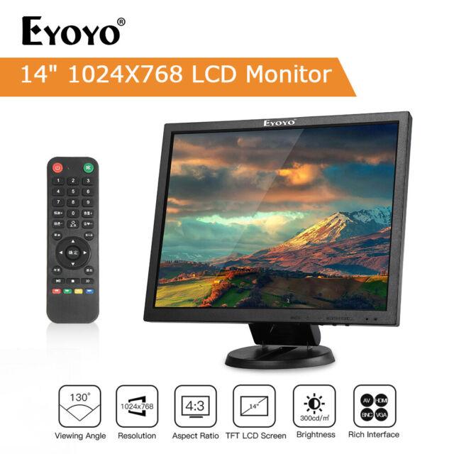 "14"" LCD TFT HDMI Monitor VGA BNC AV USB Input Display Screen Gaming For PC CCD"