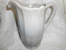 Gray marble Milk Slag Glass water serving Pitcher / Panel Pattern swirl grey tea
