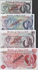 Ireland 1 ,5,10 & 100 Pounds ND.1978  4 notes Specimen Set Uncirculated Banknote