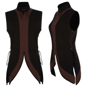 Men/'s Medieval Shirt Vest Vintage Laced Up Pirate Renaissance Sleeveless Costume