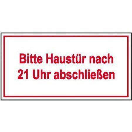 Hinweisschild 10x4cm DE345 Aufkleber Bitte Haustür nach 21 Uhr abschl