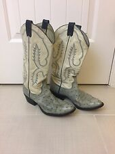 Beautiful Larry Mahan Light Gray/ Off White Ostrich Boots - 9 Extra Wide (490)
