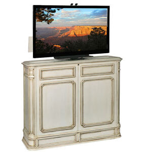 Crystal Pointe 360 Swivel Weathered White TV Lift Cabinet by TVLIFTCABINET