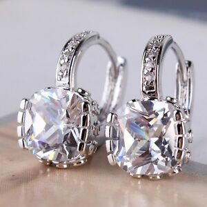 Bling-bling-18K-White-gold-filled-white-sapphire-hot-sale-leverback-earring
