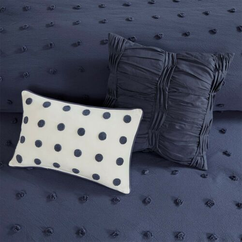 BROOKLYN NAVY BLUE DOTS Queen King or Cal King COMFORTER SET : TUFTED COTTON